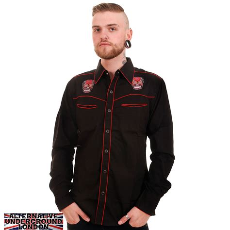 men s rockabilly style fashionbeans new mens western rockabilly shirt embroidered mexican