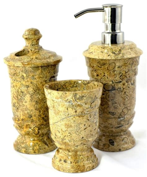 fossil 3 unique bathroom accessory set of