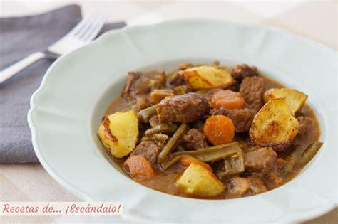 recetas de cocina de cuchara carne guisada en salsa con patatas y verduras receta de