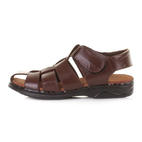 mens summer sandals mens comfort fisherman real leather velcro summer sandals