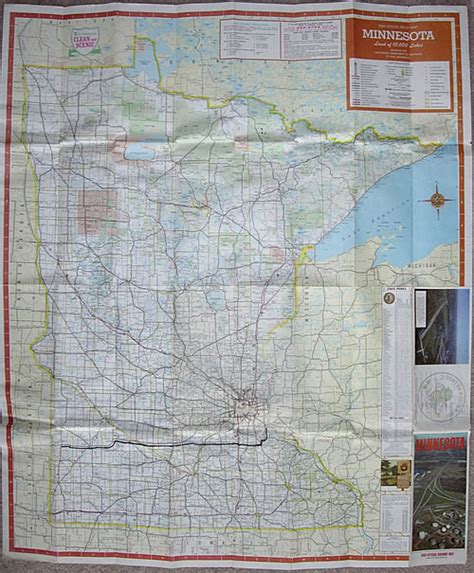Route Drawer Map by 1966 Official Road Map Minnesota