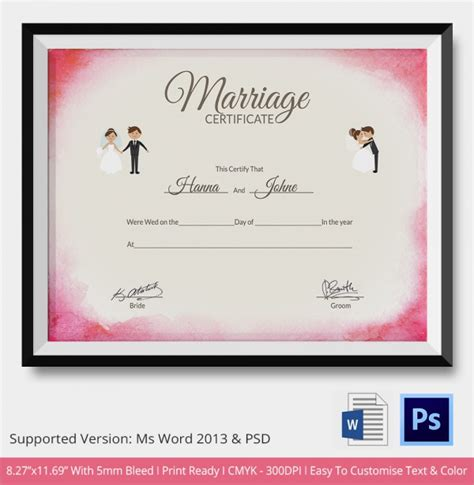 marriage certificate sle marriage certificate template 18 documents in