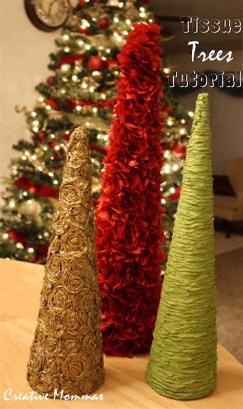 christmas tree tissue paper cone tree craft brilliant decor you can make in minutes