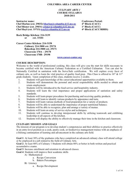 Culinary Arts 1 Culinary Arts Resume Template