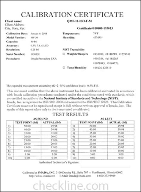 calibration certificate template sle nist traceable calibration certificates nist cal