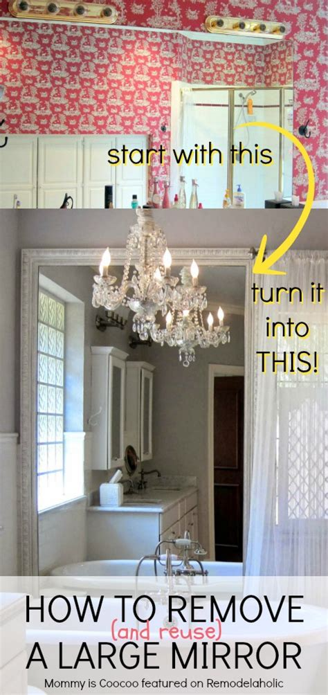 how to remove a large bathroom mirror remodelaholic how to remove and reuse a large builder