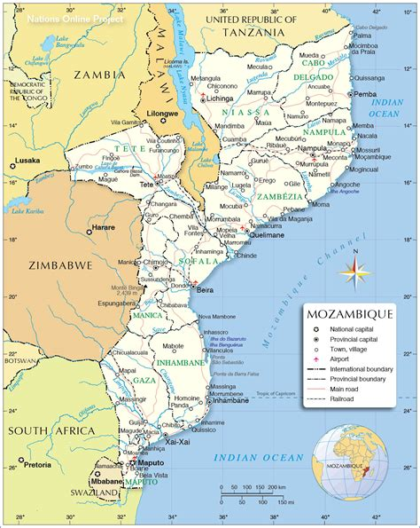 map of mozambique cities political map of mozambique nations project