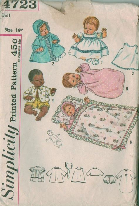 vintage simplicity baby doll clothes sewing pattern