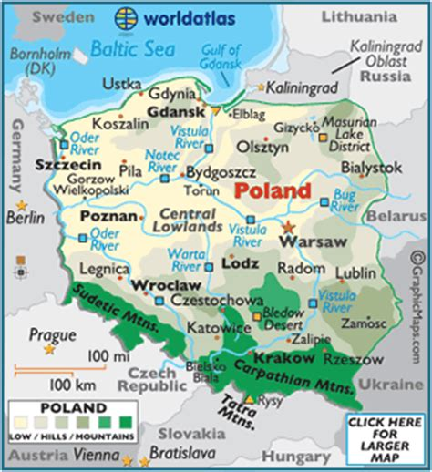 poland map / geography of poland / map of poland