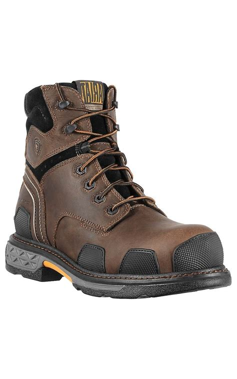 cavenders mens boots ariat overdrive s brown w composite 7in lace up