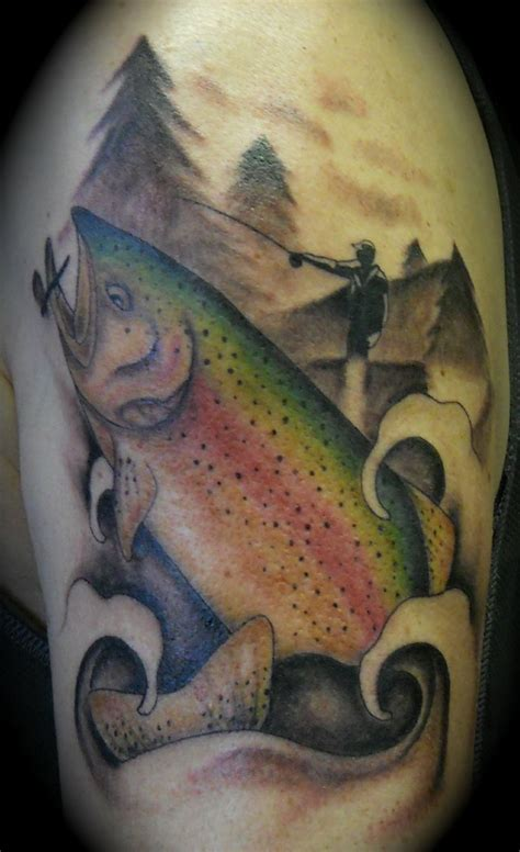 tattoos of fish trout fly fishing by lila rees tattoos
