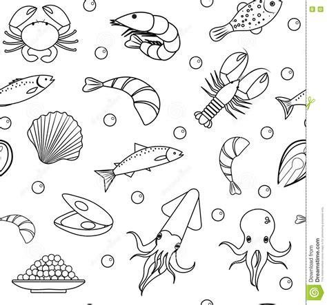 seamless pattern hand drawn seafood sea life seamless pattern underwater endless background