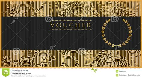 Voucher, Gift Certificate, Coupon Template. Scroll Stock