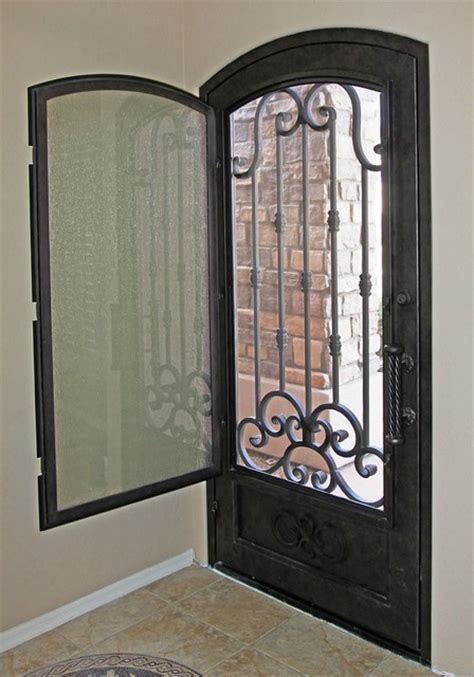 Front Door Security Traditional Scroll Iron Entry Door By Impression Security Doors Modern Entry