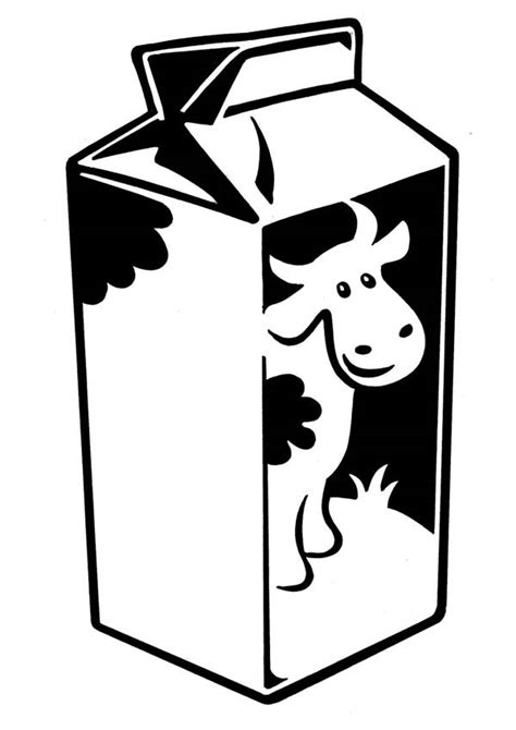 milk carton with cow picture coloring page netart