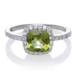 Peridot Cushion Cut Ring Cushion Cut Peridot With Halo Sapphire Gemstone