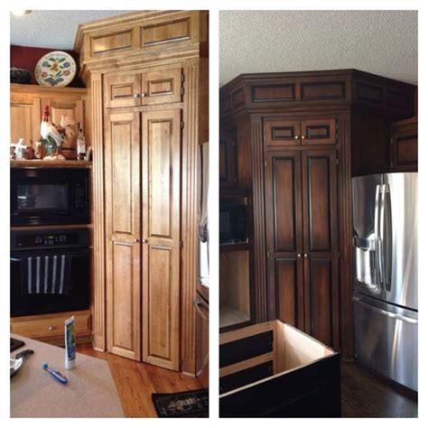 diy gel stain kitchen cabinets bathroom cabinets two tone java and antique walnut