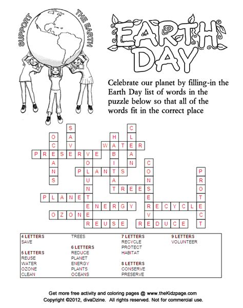 printable fill in word games support the earth earth day fill in puzzle answers free