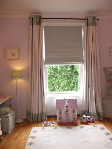 white curtains with green trim mint green white girls room roman blind with bobble
