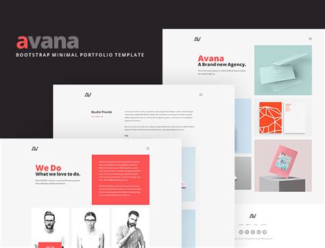 avana minimal portfolio template built with bootstrap