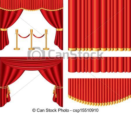 Line Swag Putih vector clip of theater curtains vector set