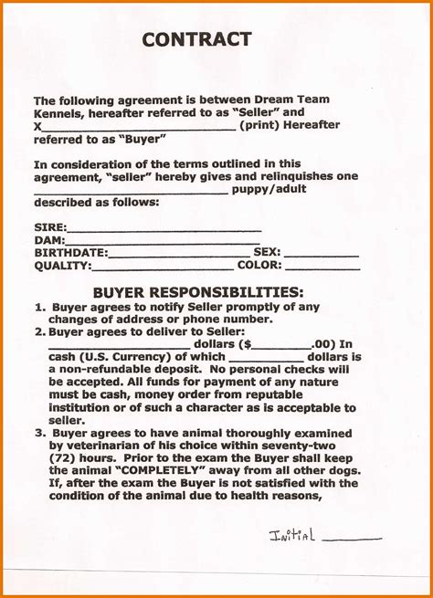 dog breeding contract template 8 9 puppy contracts leterformat