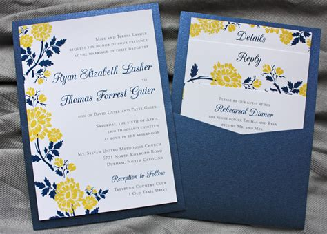 wedding invitation design yellow navy blue yellow spring flower clutch pocket invitations