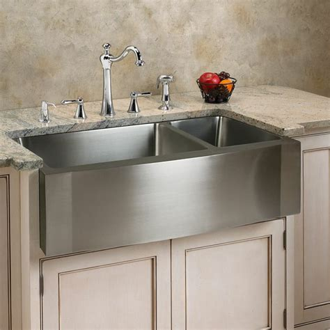 70 30 farmhouse sink 33 quot optimum 70 30 offset double bowl stainless steel