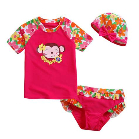 two pieces sleeve swimsuits bikinis set baby