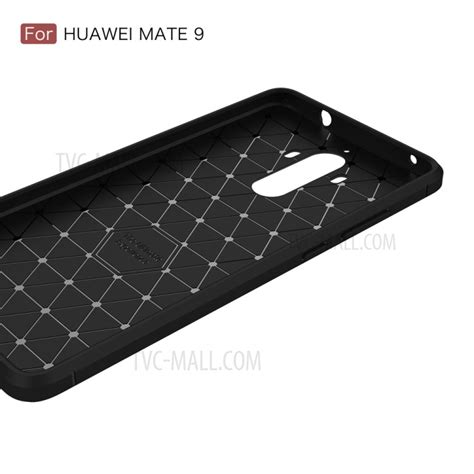 Huawei Mate 9 Brushed Carbon Armor Back Soft Cover for huawei mate 9 carbon fiber brushed tpu mobile phone cover black tvc mall