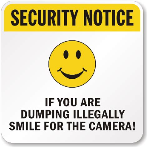 no dumping security notice sign smiley face graphic, sku
