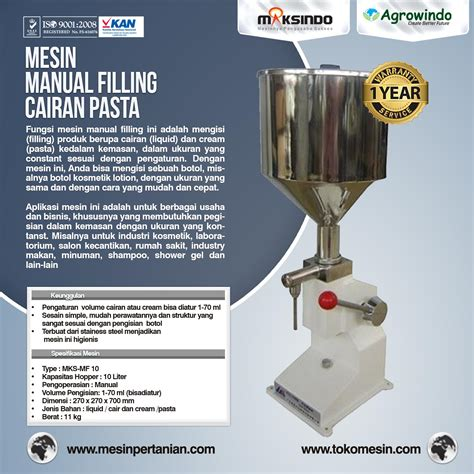 Blender Manual Di Surabaya jual mesin manual filling cairan pasta mks mf10 di
