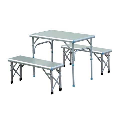 portable picnic bench outsunny 32 portable outdoor picnic table with folding bench seats silver only