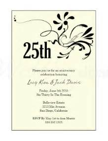 25th wedding anniversary invitation wording archives the