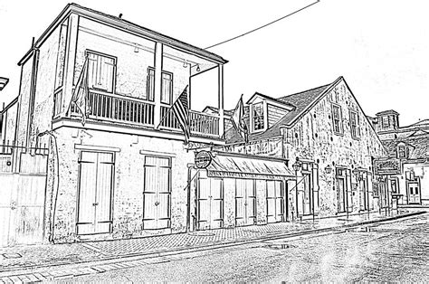 french quarter coloring page french quarter tavern architecture new orleans black and