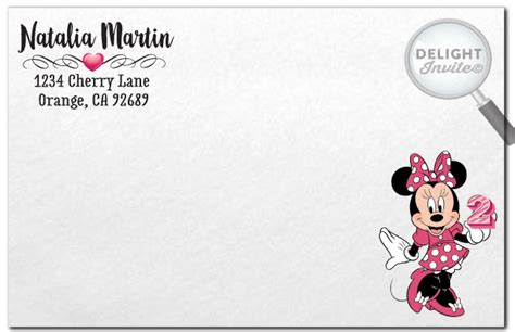printable minnie mouse envelope minnie mouse birthday invitation envelope di 217env