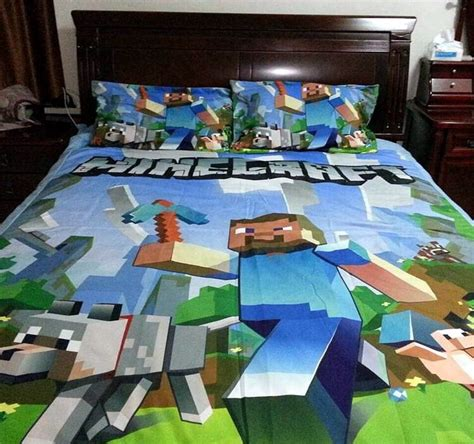 minecraft bedding for kids minecraft inspired double queen quilt cover licensed kids