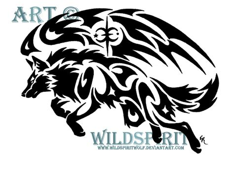 tribal winged wolf by wildspiritwolf on deviantart