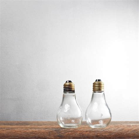 black sant and peper low lights fancy light bulb salt and pepper shakers