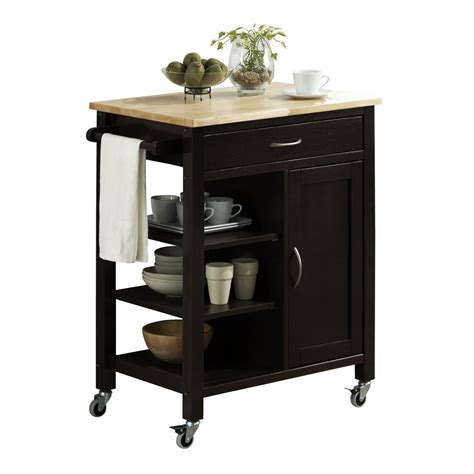 Kitchen Cart by 4d Concepts 43929 Edmonton Kitchen Cart With Wood Top