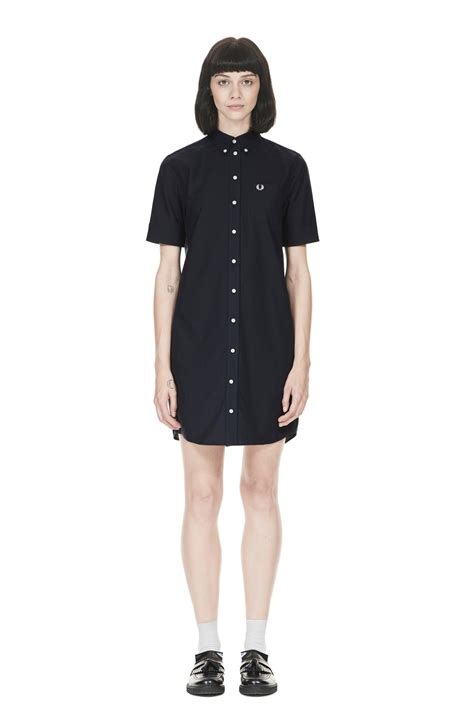 Dress Collar Oxford Navy Mocca fred perry oxford shirt dress navy