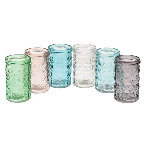 tealight holders set of 6 coloured glass tealight holders rex at