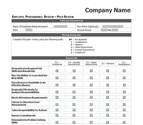 employee review template employee performance review checklist