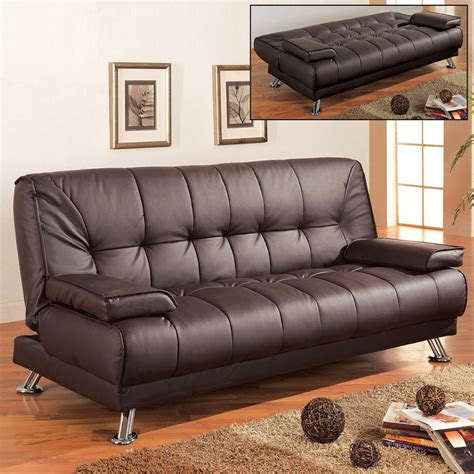 Brown Faux Leather Sofa Bed by Coaster Furniture Brown Faux Leather Sofa Bed At