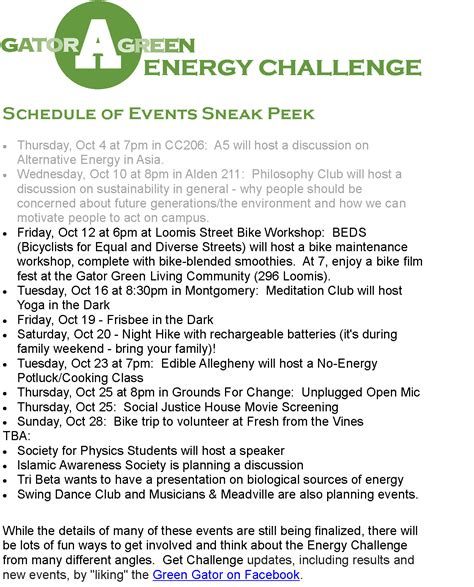 Allegheny College Calendar Energy Challenge Schedule Additions 187 The Green Gator At