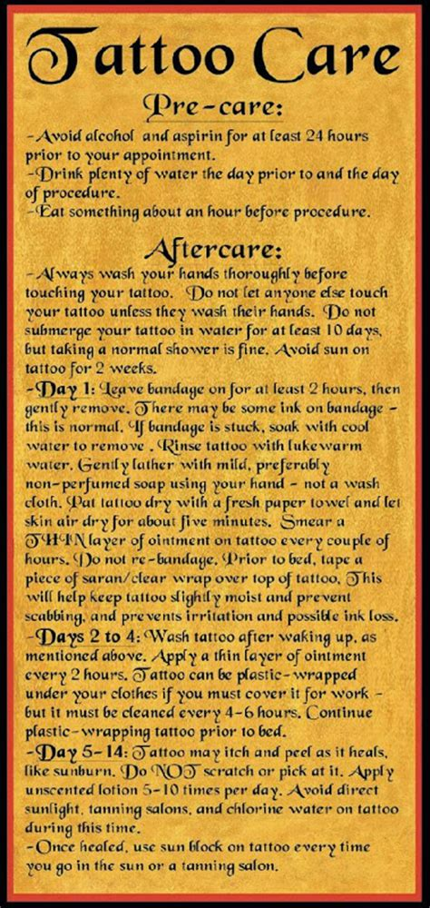 tattoo care directions tattoo aftercare tattoo designs
