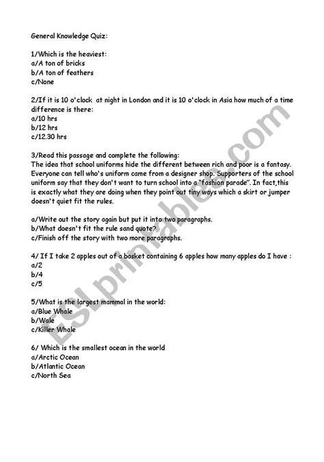 general knowledge worksheets worksheets general knowledge quiz