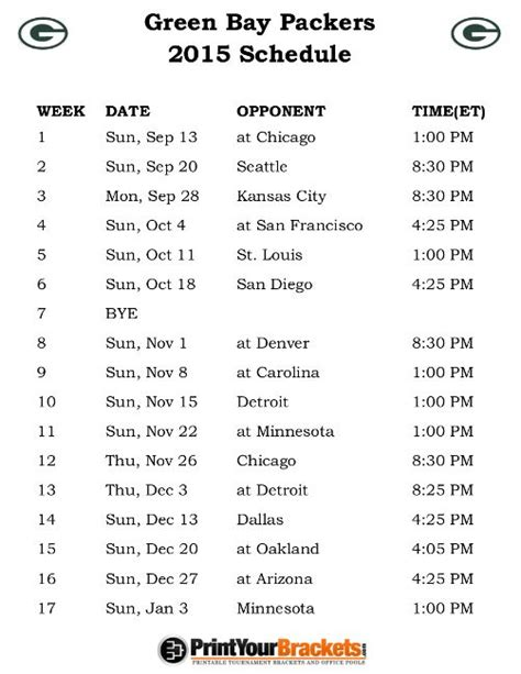 printable schedule for green bay packers best 20 packers schedule ideas on pinterest