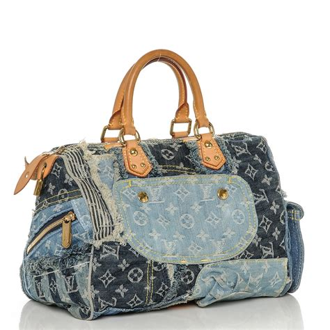 Louis Vuitton Patchwork - louis vuitton denim patchwork speedy 30 blue 191850