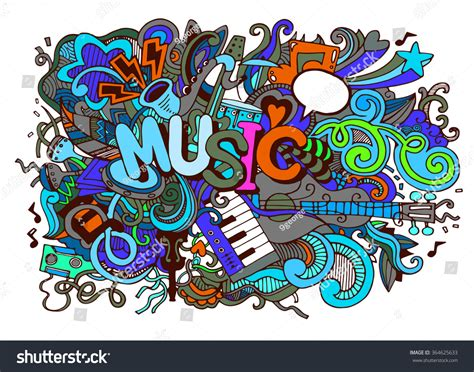 doodle less pool musicas abstract background collage musical instrumentshand